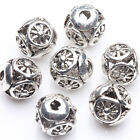 10/20Pcs Tibetan Silver Plated Round Spacer Hollow Beads Jewelry Making DIY 8mm