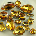 Faceted glass crystal ear claws rhinestones sew on gold beads teardrop/oval Y-pk