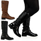 NEW WOMENS QUILTED FLAT CALF LENGTH LADIES WINTER RIDING BOOTS SHOES SIZE 3-8