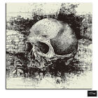 Skull Grunge B & W Illustration BOX FRAMED CANVAS ART Picture HDR 280gsm