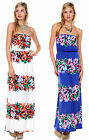FASHION WOMENS CASUAL STRAPLESS FLORAL LONG MAXI DRESS