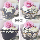 50PCS Wedding Birthday Baby Shower Filigree Vine Cupcake Wrappers Wraps Cases