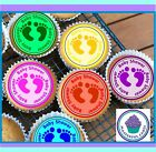 24 BABY SHOWER MIXED CUPCAKE TOPPERS, PREMIUM WAFER PAPER OR ICING SHEET BSM01