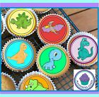 24 DINOSAUR MIXED CUPCAKE TOPPERS, PREMIUM WAFER PAPER OR ICING SHEET 1920