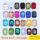 30 faceted 10x14mm pointed back crystal  rhinestone foiled Jewels rectangle Y-pk