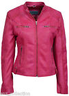 SOLO Ladies 8322 Fuchsia Pink Fashion Biker Style Motorcycle Real Leather Jacket