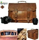 New Custom Handmade Vintage Look Real Leather Camera Satchel Shoulder Bag Brown