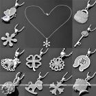 1x White Gold Plated Charm Pendant Cubic Zirconia Crystal Sweater Chain Necklace