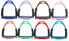 FLEXI SAFETY IRONS BENDY HORSE RIDING EQUESTRIAN STIRRUPS WITH BLACK TREADS