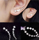 women Fashion Rhinestone Silver Crystal Earrings Ear Hook Stud Jewelry Gift 2015