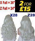 SILVER WHITE Long Curly Layered Half Wig Hair Piece 3/4 Wig Fall Clip in #010W