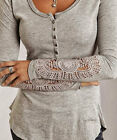 Women Ladies Summer Button Top Long Sleeve Blouse T-Shirt Lace Casual Tank Tops