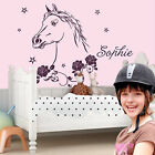 WALL TATTOO Horse head with name Ride Children's room Rose Girls Wall sticker