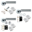 Designer Internal Lever Door Handles Sets Door Packs Furniture Dual Chrome Satin