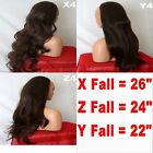 BROWN Long Curly Layered Half Wig Hair Piece Ladies 3/4 Wig Fall Clip in #4