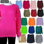 New Women Ladies Baggy Plain Jumper Sweater Chunky Long Sleeves Knitted Top 8-16