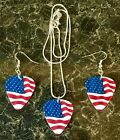 USA American Flag, Guitar Pick, Plectrum Earrings Necklace Steampunk, Rockabilly