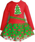 Brand New Rare Editions Girls Red Holiday Tree Applique Holiday Dress~2T 4T