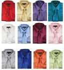 Men's Shiny Satin Polyester Formal Dress Shirt w/ Tie and Hanky Set #08 Solid