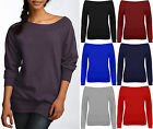 Womens Off Shoulder Sweat Jumper Top Ladies Long Sleeve Casual Gym Sweatshirt