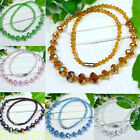 Fashion Womens Girls Faceted Crystal Glass Graduated Bead Necklace Mixed Color