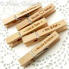 100 Personalised Engraved Wooden Peg/Place Card Holder Wedding Favours