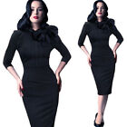 Retro Women Celeb Vintage Pinup Bow Cocktail Evening Party Bodycon Dress NB244