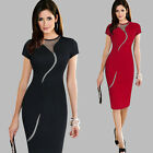 Elegant Women Bodycon Wiggle Pencil Mesh Sheer Insert Spring Summer Dress B215