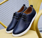 New Mens leather casual fashion sneakers lace casual shoes large size shoes