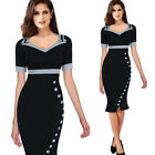 Elegant Women Contrast Trims Buttoned Formal Party Bodycon Summer New Dress B220