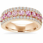 1 1/2ct Pink Sapphire & Diamond Wedding Ring 14K Rose Gold