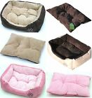 Quality Pet Dog Cat Bed Small Medium Large XL Cushion Pillow Pink Beige Brown
