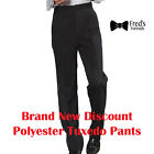 Discount Mens Polyester Black Tuxedo Pants ALL SIZES True Fit Hospitality Band