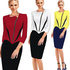 Women Contrast Colorblock Novetly Neck Wiggle Autumn Bodycon Formal Dress B232