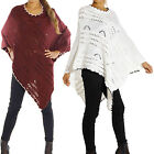 DAMEN PONCHO CAPE WOLLE MOHAIR CARDIGEN UMHANG PULLOVER ÜBERGANG STRICK M-XL P98