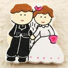 Wooden Stick On Bride and Groom Wedding Embellishment