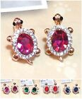 Swarovski Charming Colourful Crystal 18K GP Turtle Thalassian Pin Stud Earrings