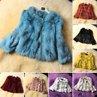 NEW Women's Real Rabbit Fur Short Jacket with Round Neck Warm Winter Coat