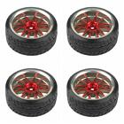 4PCS Tires With 12-spoke Red Wheel Rims For RC1:10 Nitro Car Flat Racing Car