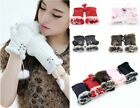 Fashion Lady's Real Rabbit Fur Hand Wrist Warmer Fingerless Winter Gloves