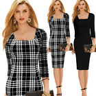 Vintage Women Square Neck Plaids Checks Bodycon Pencil Tunic Winter Dress B249