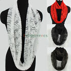 New Fashion Women Thin Floral Infinity Cowl Lace Glitter Mantilla 2-Layer Scarf