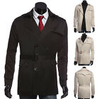 Men's Slim Stylish Trench Coat Winter Long Jacket Double Breasted Parka Overcoat