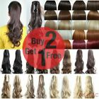 Curly Wavy Straight Claw Clip Ponytail hair Piece Black Brown Blonde Red Ginger