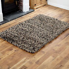 LARGE MEDIUM 7CM HIGH PILE PURE WOOL GREY BROWN HIGH QUALITY THICK MODERN RUGS