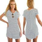 New Fashion Women Dress Crew Neck Short Sleeve Striped Loose T-Shirt Mini Dress