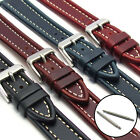 Flat Leather Watch Strap Band Edge-Ribbed Contrast Stitching 16mm 18mm 20mm LB06