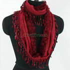 Fashion Women Floral Lace Stitching Cotton Gauze With Tassel Infinity Scarf New
