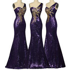 Sequins Long Mermaid Cocktail Evening Formal Party Prom Gown Bridesmaid Dress GK