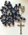 Deep Blue Crystal Beads Rosary Catholic Necklace Holy Soil Medal with Crucifix